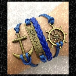 Dream Anchor Infinity Leather Charm Bracelet